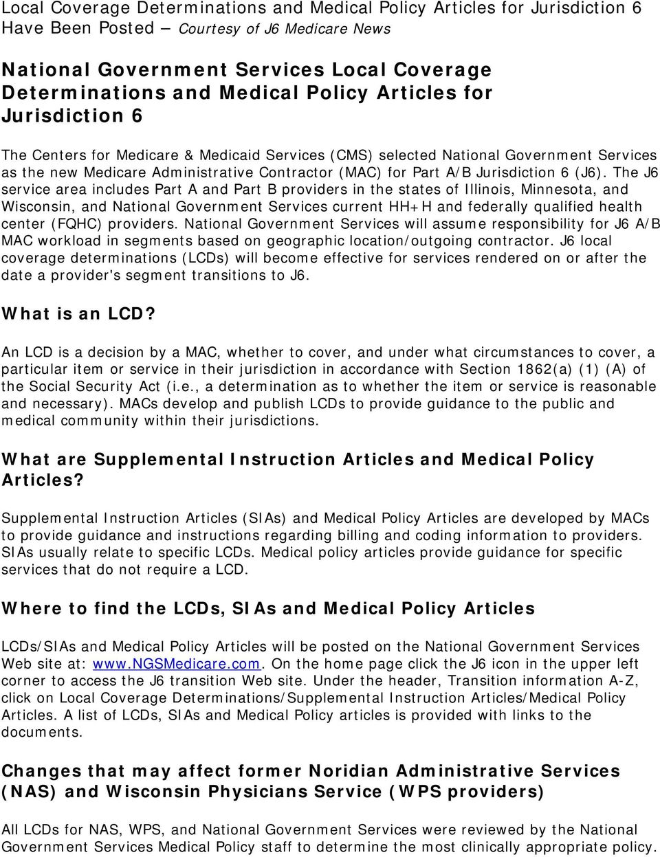 National Government Services Local Coverage Determinations