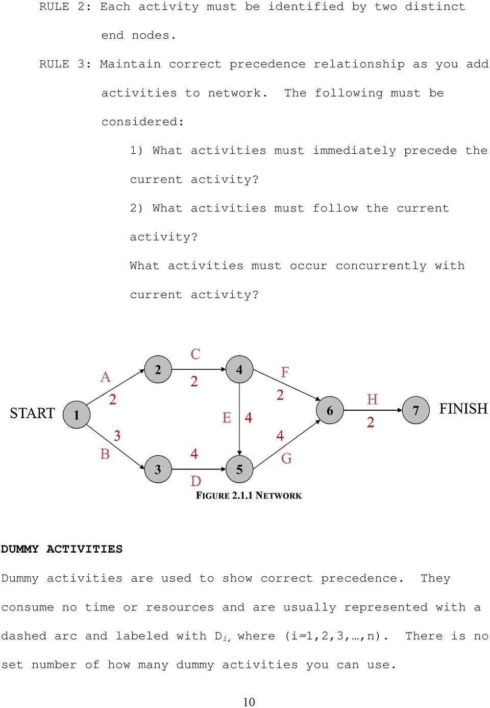 What activities must occur concurrently with current activity? FIGURE 2.1.1 NETWORK DUMMY ACTIVITIES Dummy activities are used to show correct precedence.