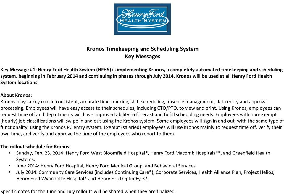 Kronos Timekeeping and Scheduling System Key Messages - PDF