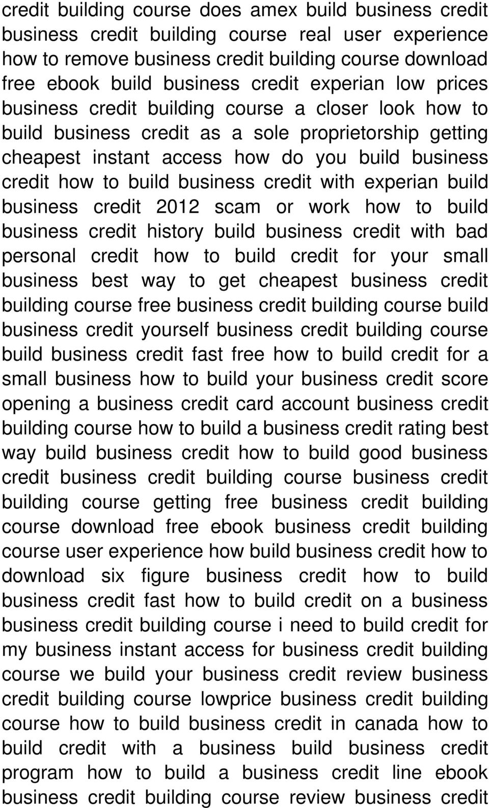 business credit with experian build business credit 2012 scam or work how to build business credit history build business credit with bad personal credit how to build credit for your small business