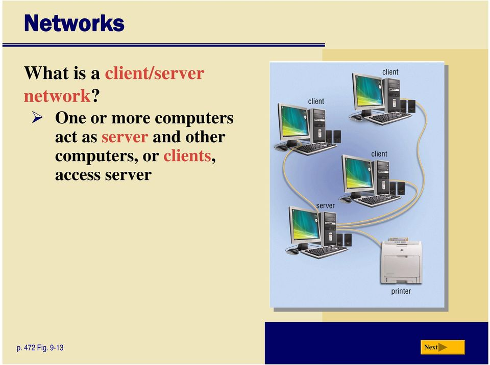 One or more computers act as server