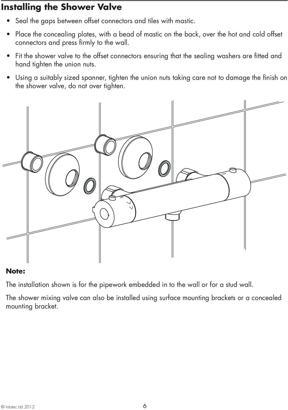 Coolflo Safe Touch Shower Mixing Valve St20015cp Pdf Diagram Fit The To Offset Connectors Ensuring That Sealing Washers Are Fitted And