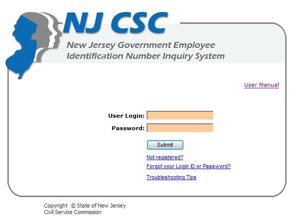 New Jersey Government Employee Identification Number Inquiry