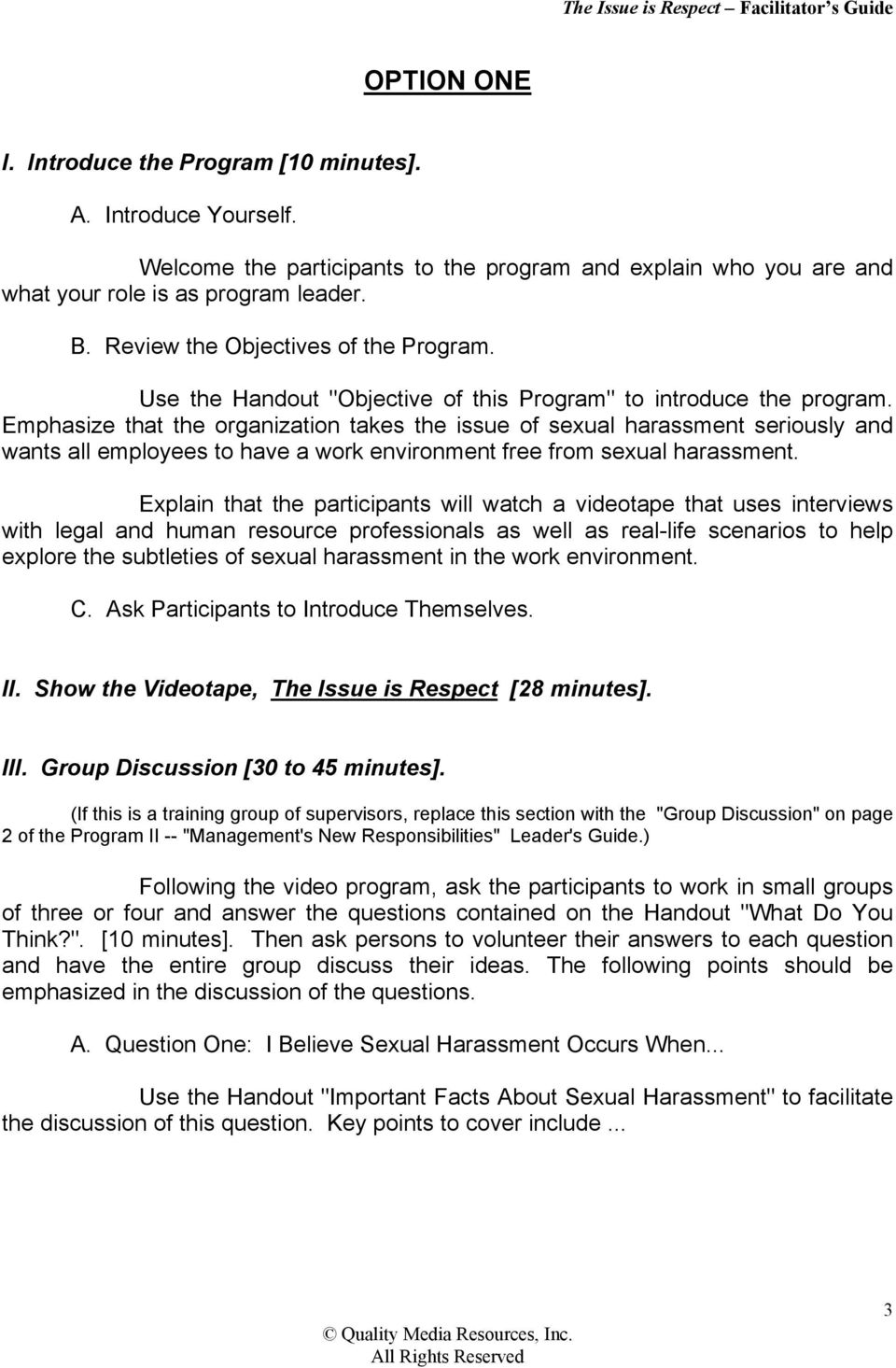 "Use the Handout ""Objective of this Program"" to introduce the program."