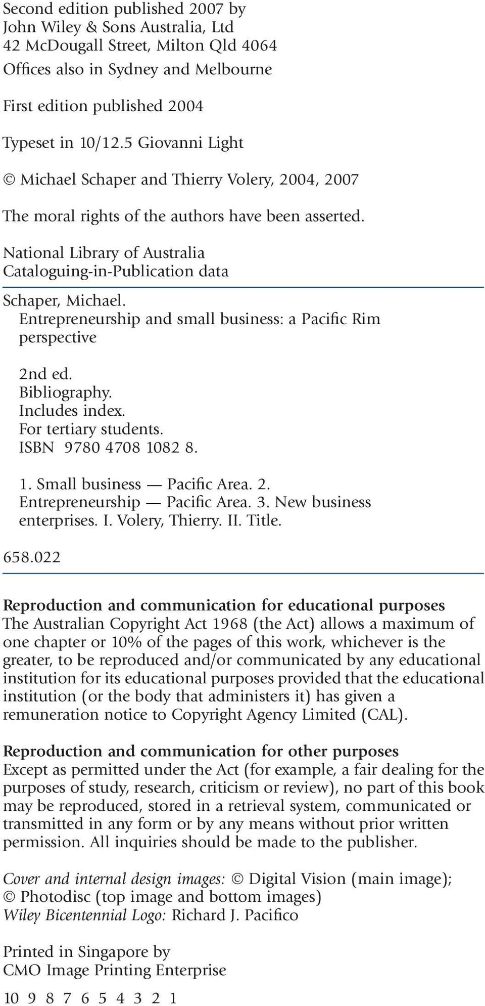 Entrepreneurship and small business: a Pacific Rim perspective 2nd ed.  Bibliography. Includes index