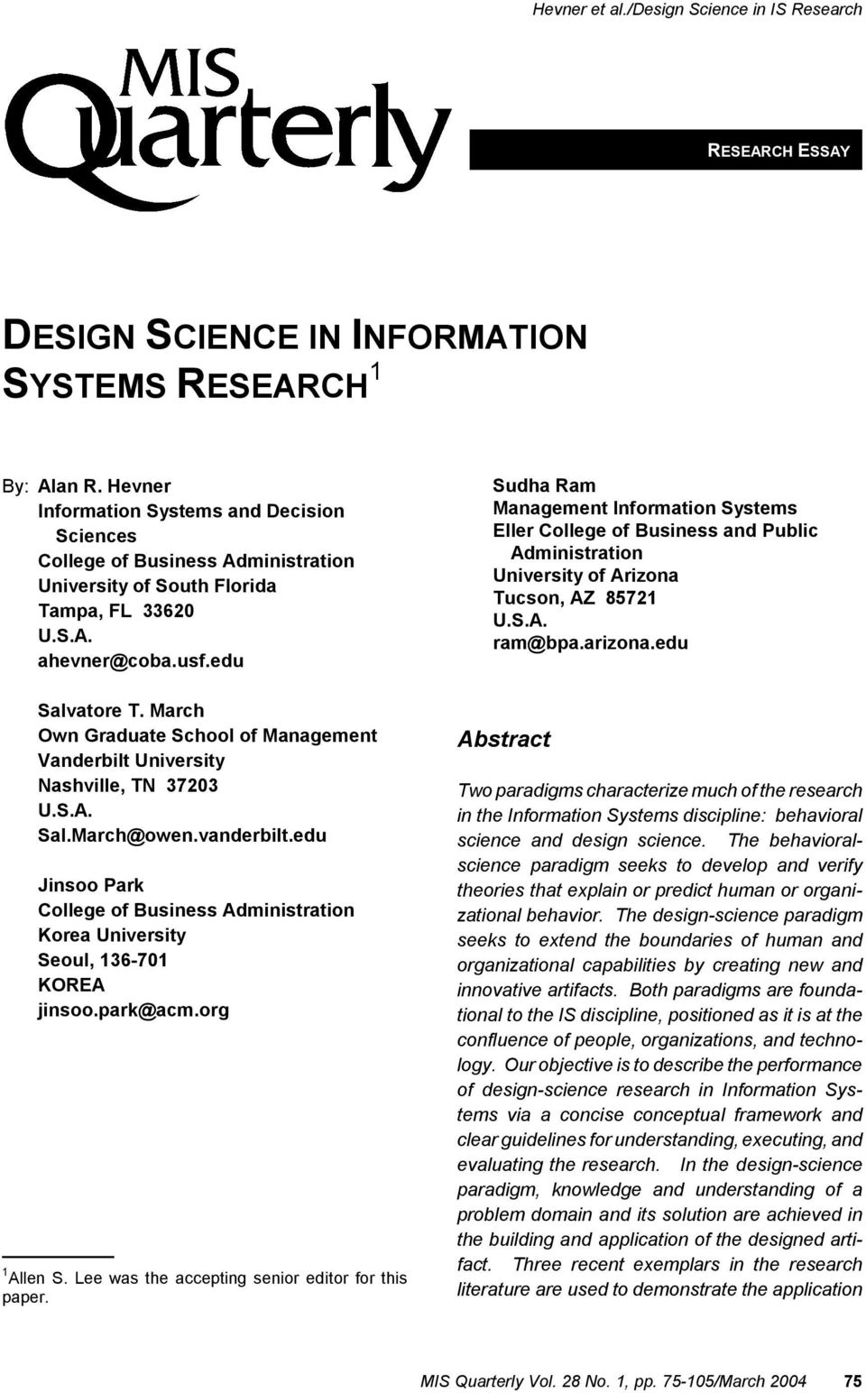 Design Science In Information Systems Research 1 Pdf Free Download