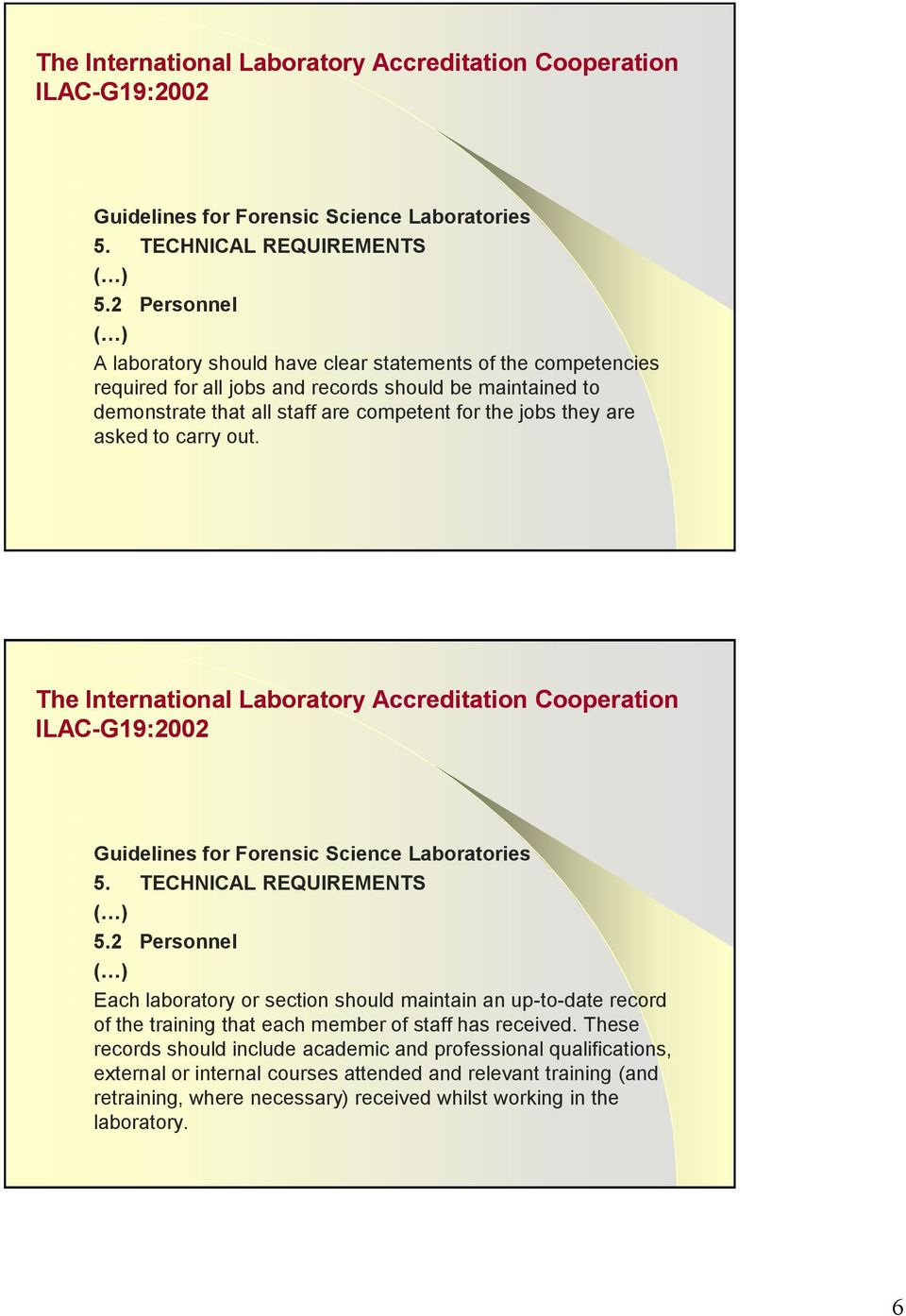 The International Laboratory Accreditation Cooperation Each laboratory or section should maintain an up-to-date record of the training that each member of staff