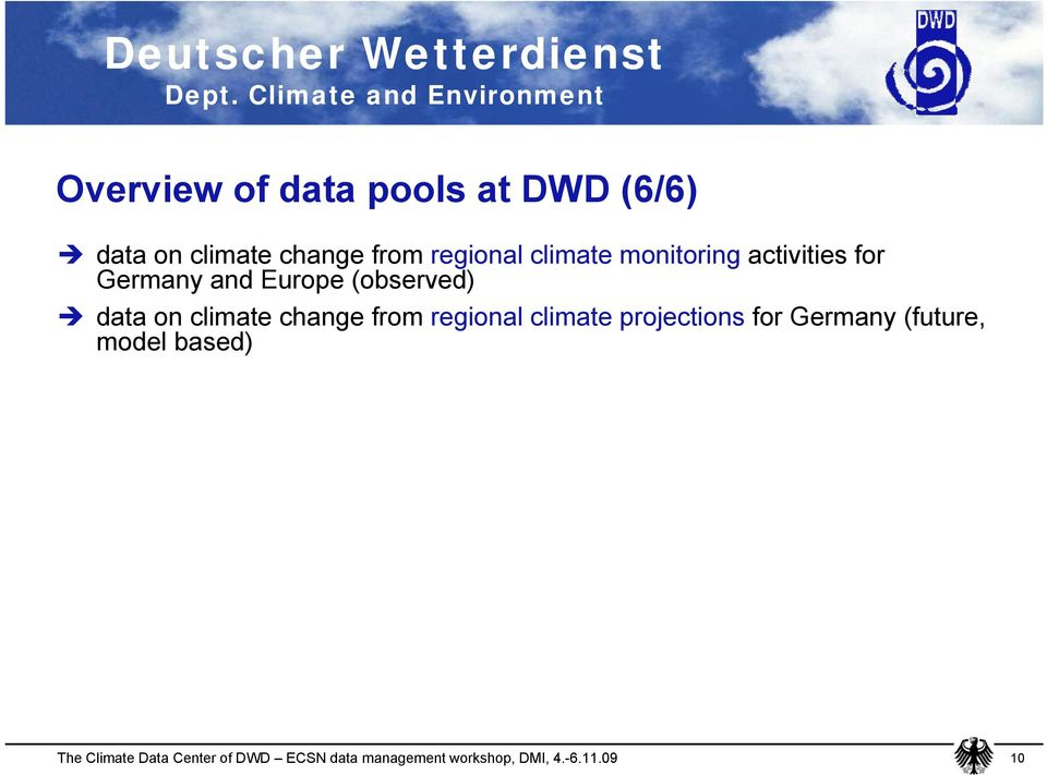 Germany and Europe (observed) data on climate change from