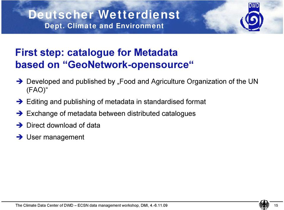 (FAO) Editing and publishing of metadata in standardised format Exchange