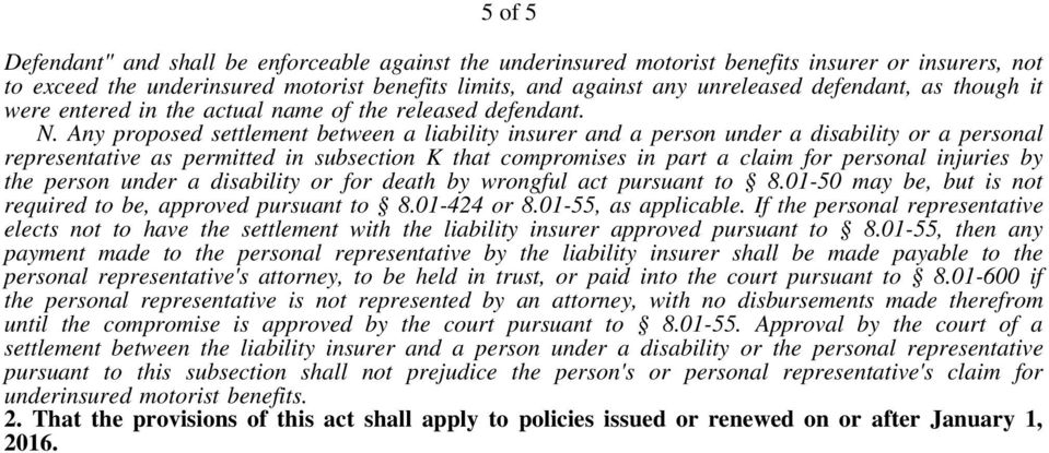 Any proposed settlement between a liability insurer and a person under a disability or a personal representative as permitted in subsection K that compromises in part a claim for personal injuries by