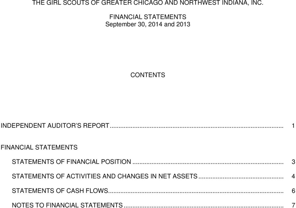 .. 1 FINANCIAL STATEMENTS STATEMENTS OF FINANCIAL