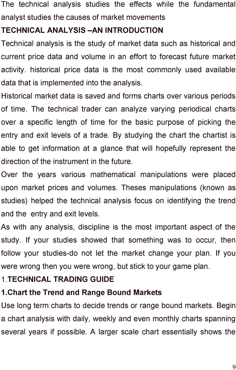 Historical market data is saved and forms charts over various periods of time.