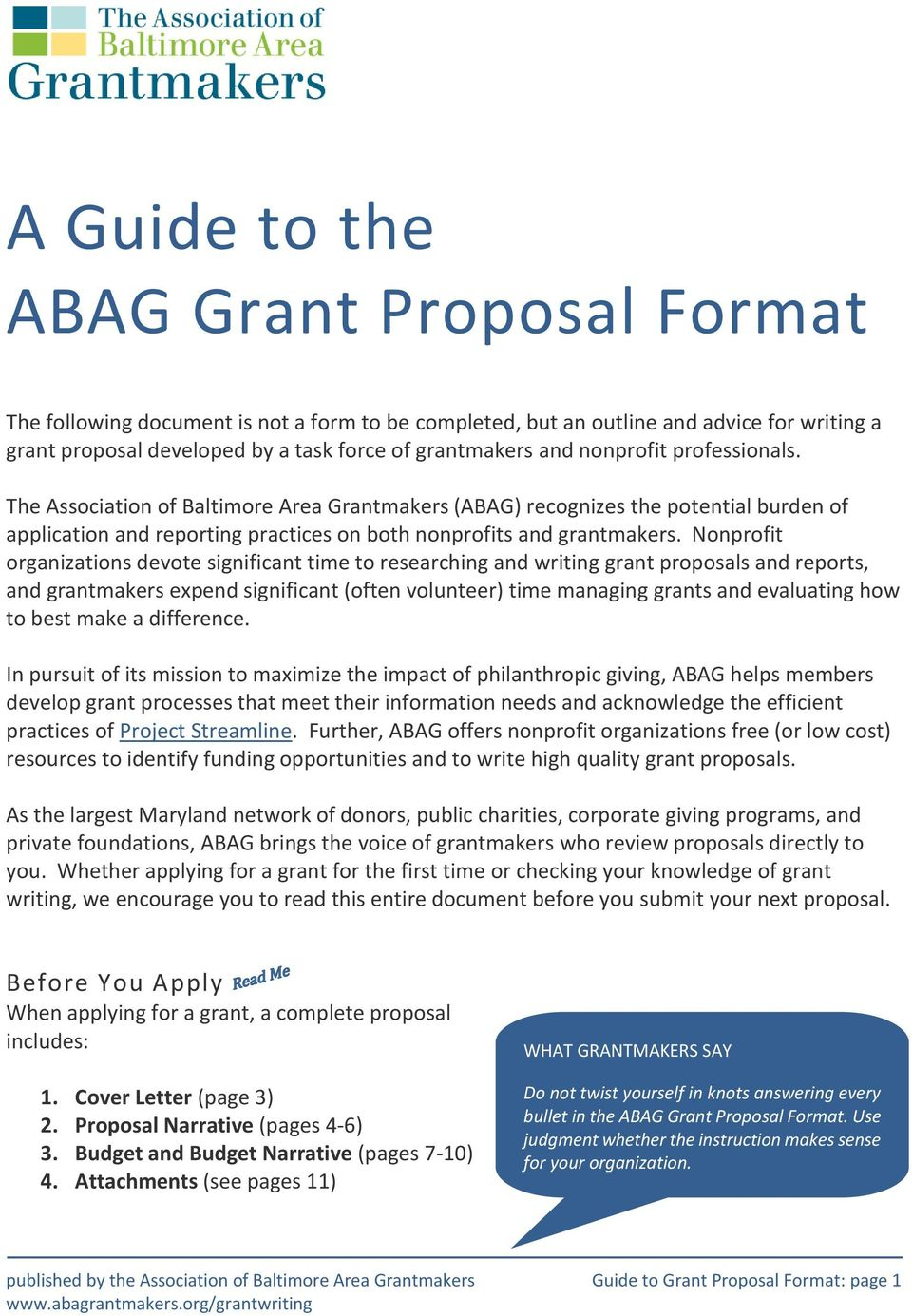 A Guide to the ABAG Grant Proposal Format - PDF