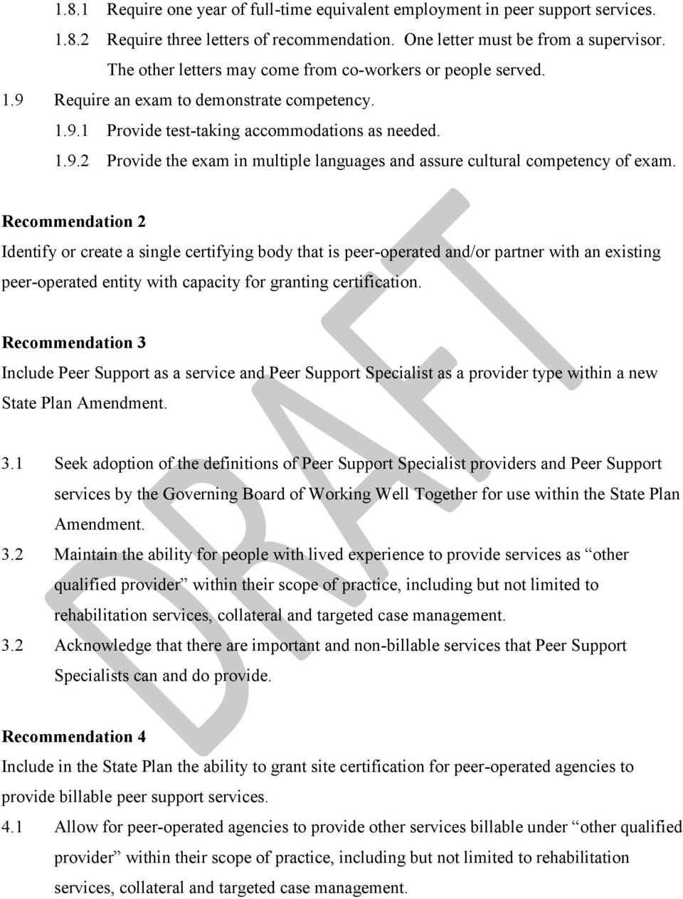 Final Stakeholder Recommendations Regarding Certification Of Peer Support Specialists Pdf Free Download