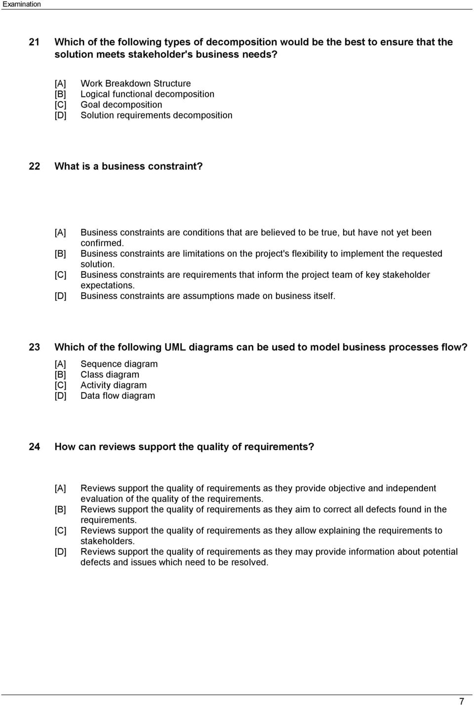 Examination Subject Version Pdf Process Flow Diagram Vs Sequence Business Constraints Are Conditions That Believed To Be True But Have Not Yet Been