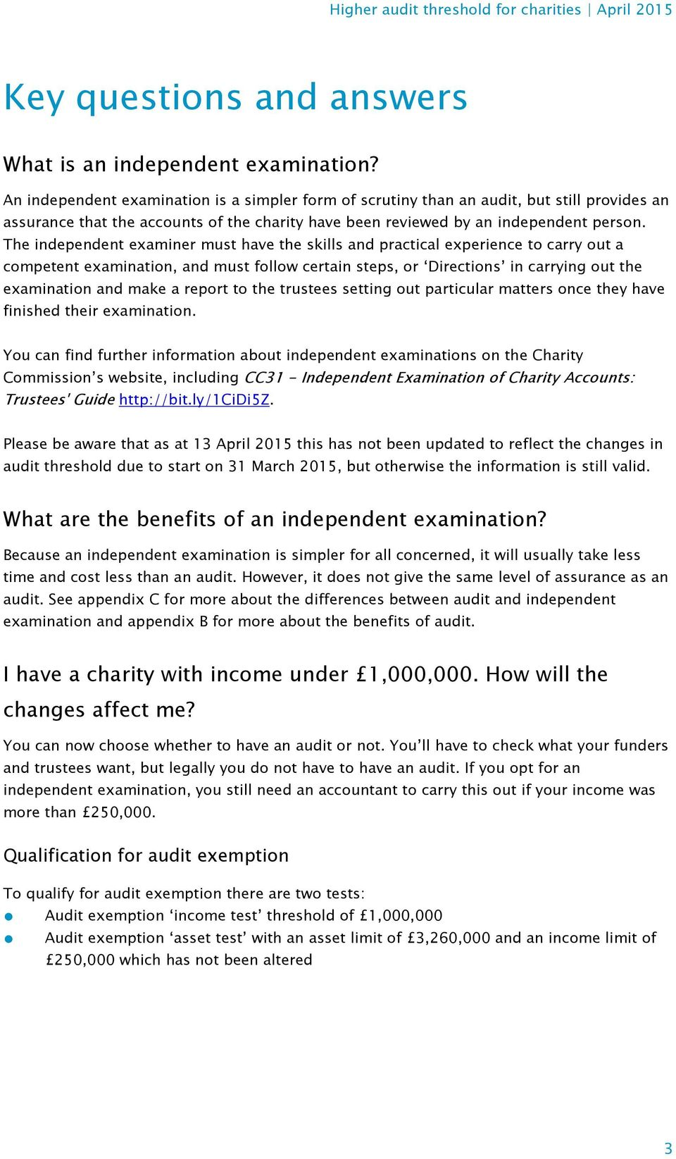 Higher audit threshold for charities - PDF
