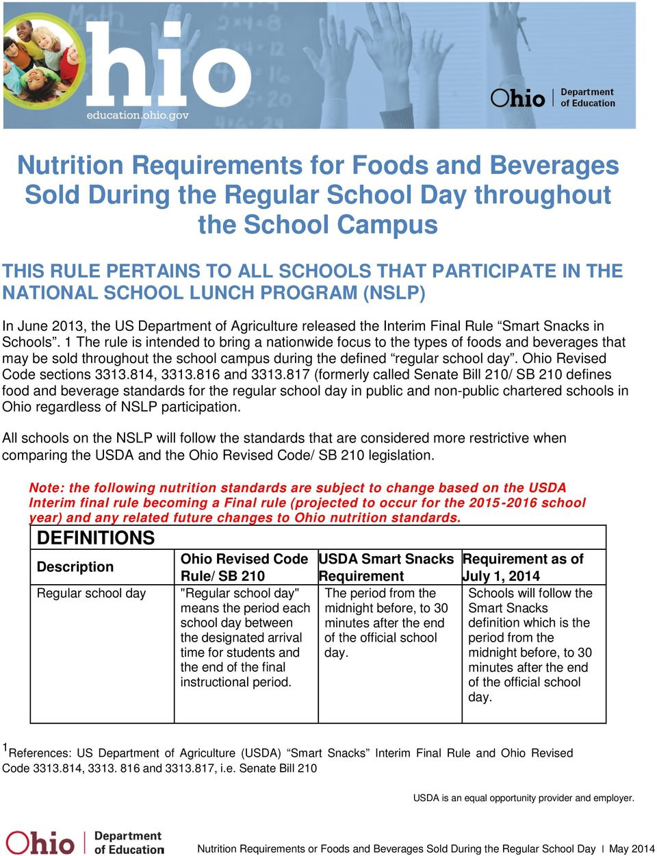 1 The rule is intended to bring a nationwide focus to the types of foods and beverages that may be sold throughout the school campus during the defined regular school day.