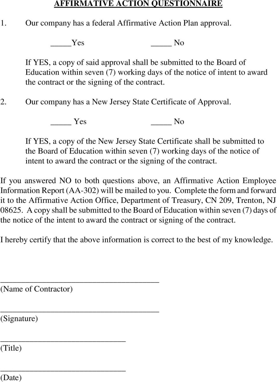 Our company has a New Jersey State Certificate of Approval.