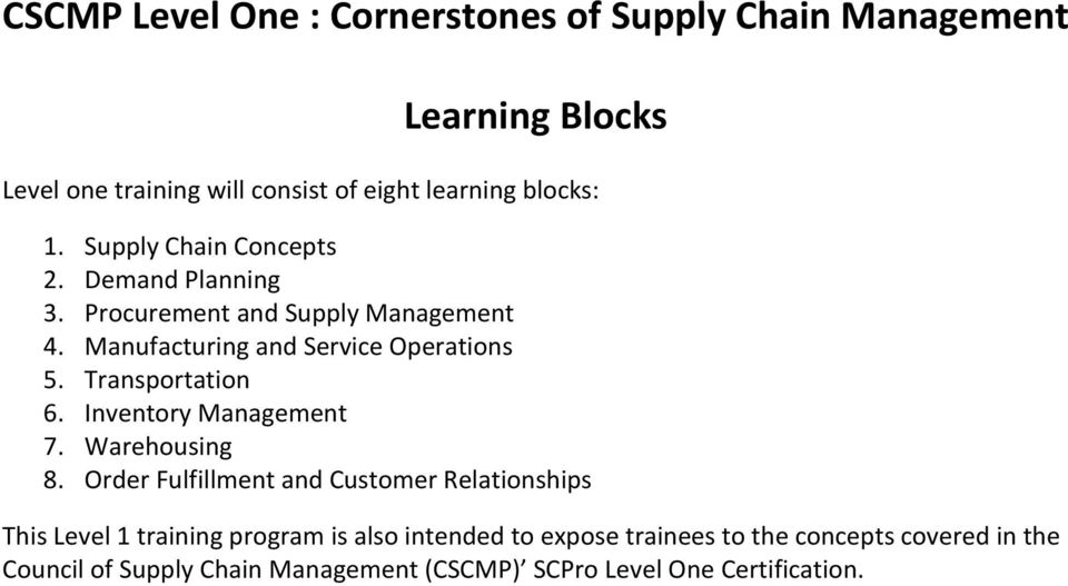 Cscmp Level One Cornerstones Of Supply Chain Management Learning