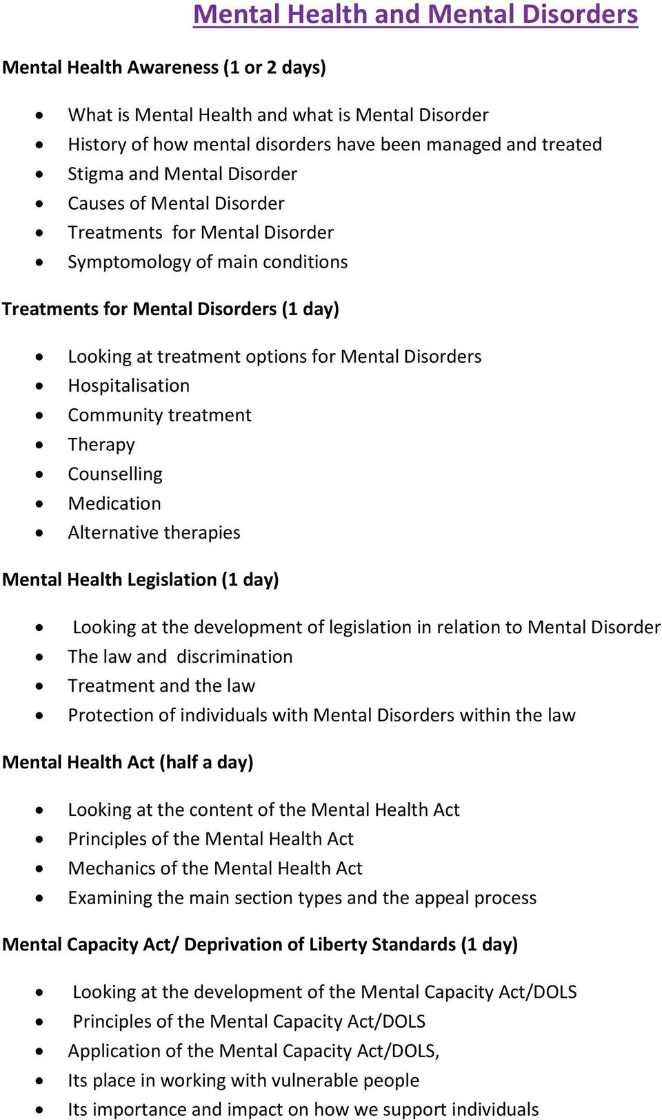 Hospitalisation Community treatment Therapy Counselling Medication Alternative therapies Mental Health Legislation (1 day) Looking at the development of legislation in relation to Mental Disorder and