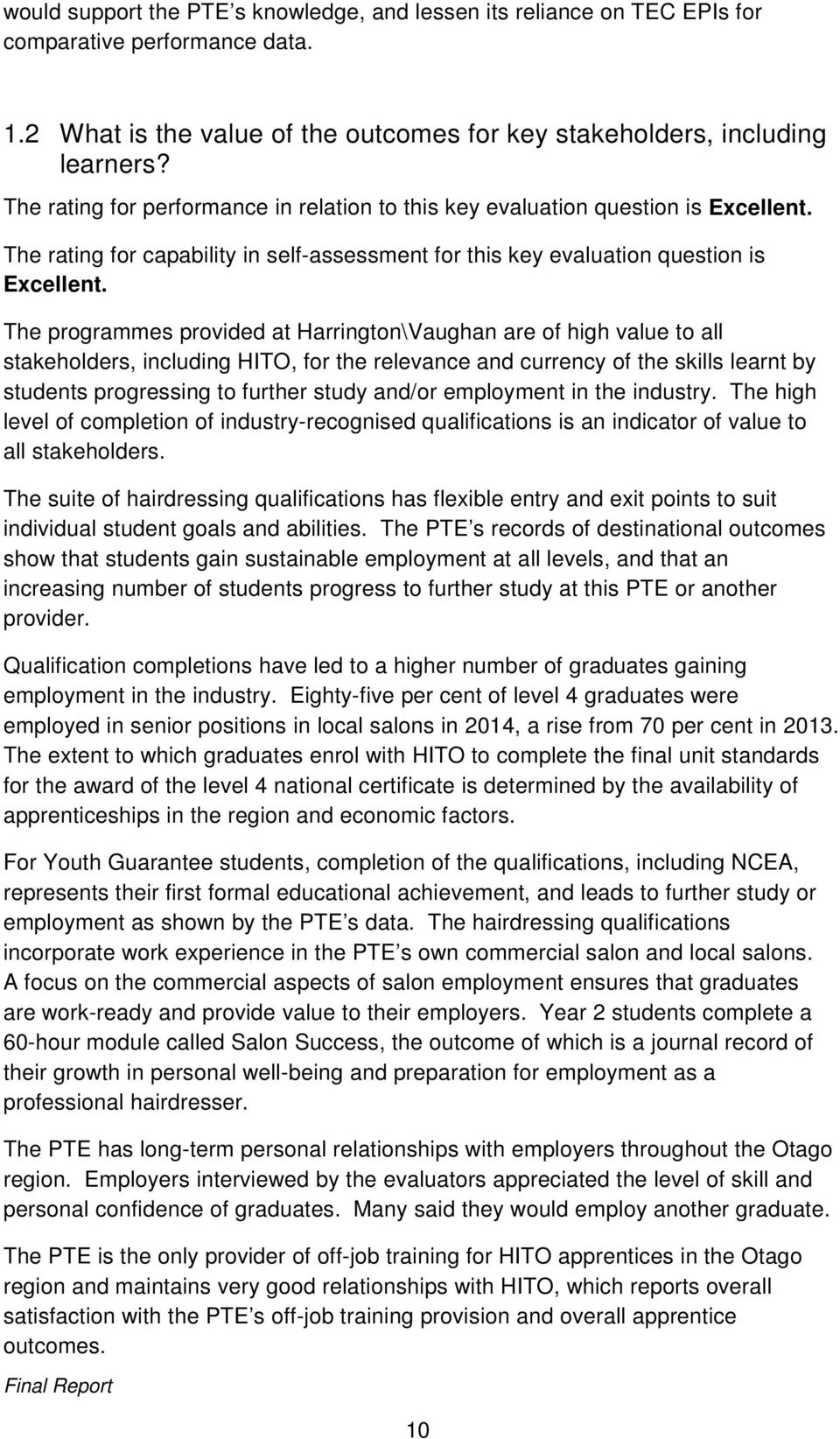 The programmes provided at Harrington\Vaughan are of high value to all stakeholders, including HITO, for the relevance and currency of the skills learnt by students progressing to further study