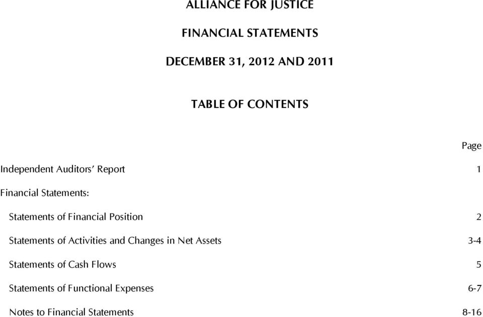 of Activities and Changes in Net Assets 3-4 Statements of Cash Flows 5