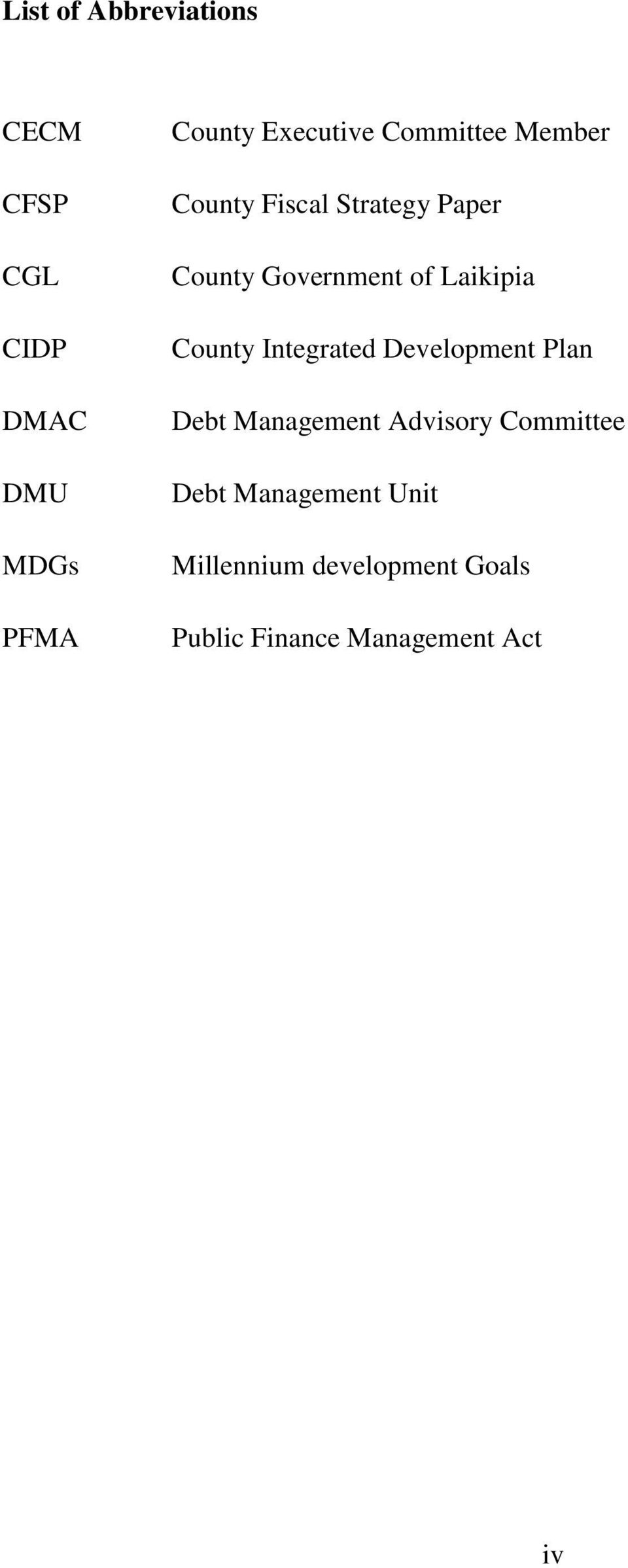 County Integrated Development Plan Debt Management Advisory Committee Debt