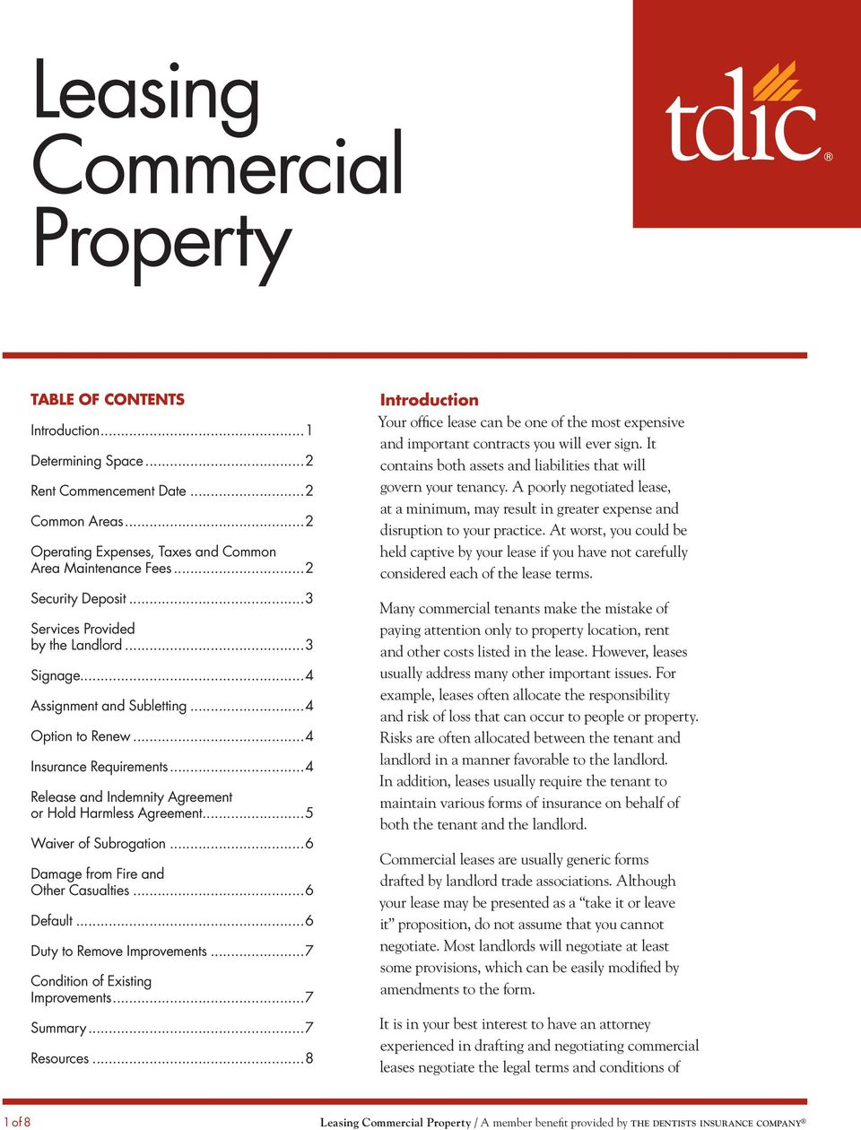 Leasing Commercial Property Pdf