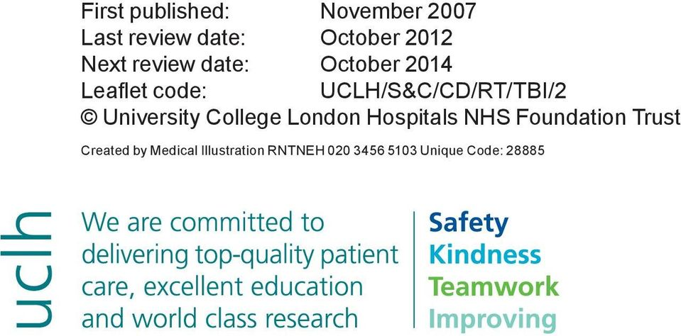 UCLH/S&C/CD/RT/TBI/2 University College London Hospitals NHS