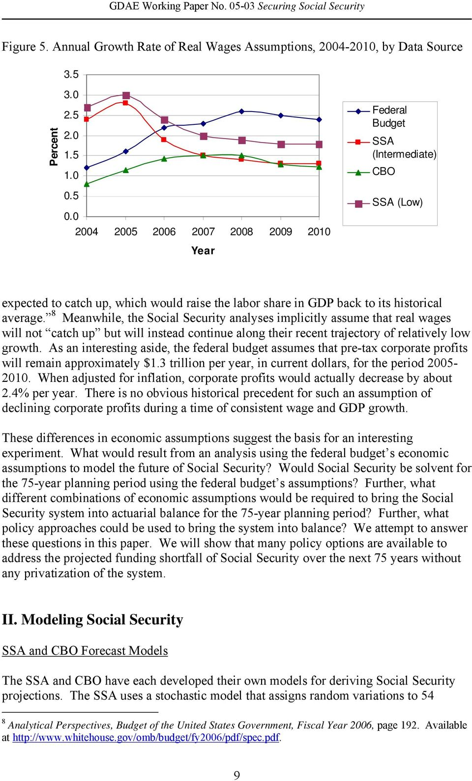 8 Meanwhile, the Social Security analyses implicitly assume that real wages will not catch up but will instead continue along their recent trajectory of relatively low growth.
