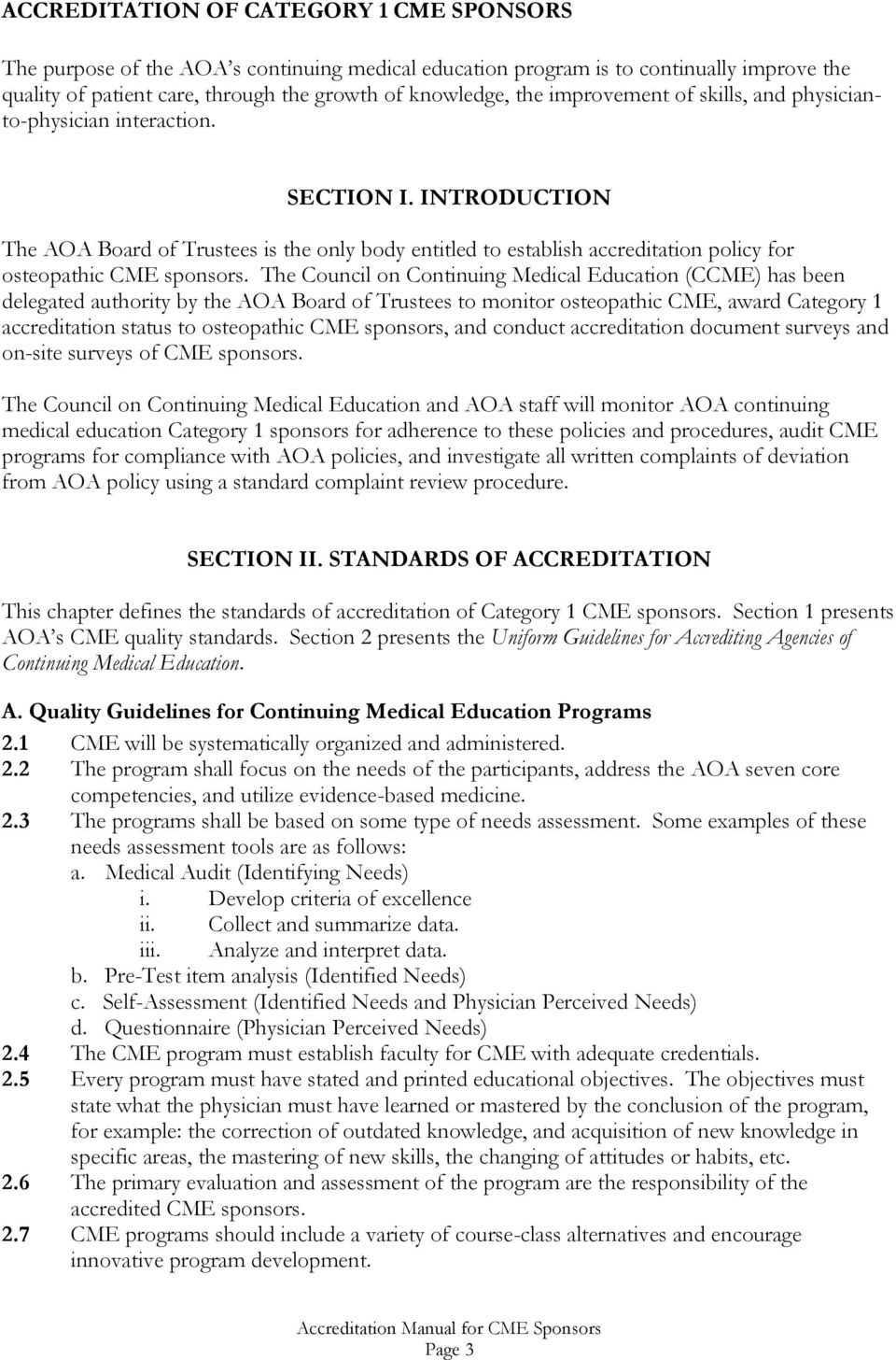 Accreditation Requirements For Category 1 Cme Sponsors Pdf