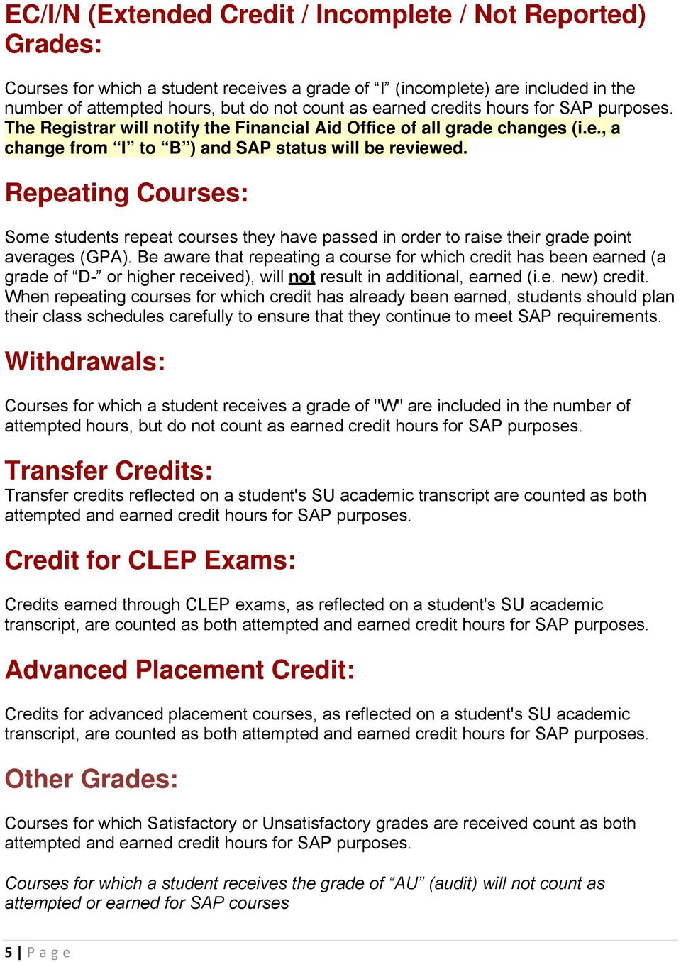 Repeating Courses: Some students repeat courses they have passed in order to raise their grade point averages (GPA).