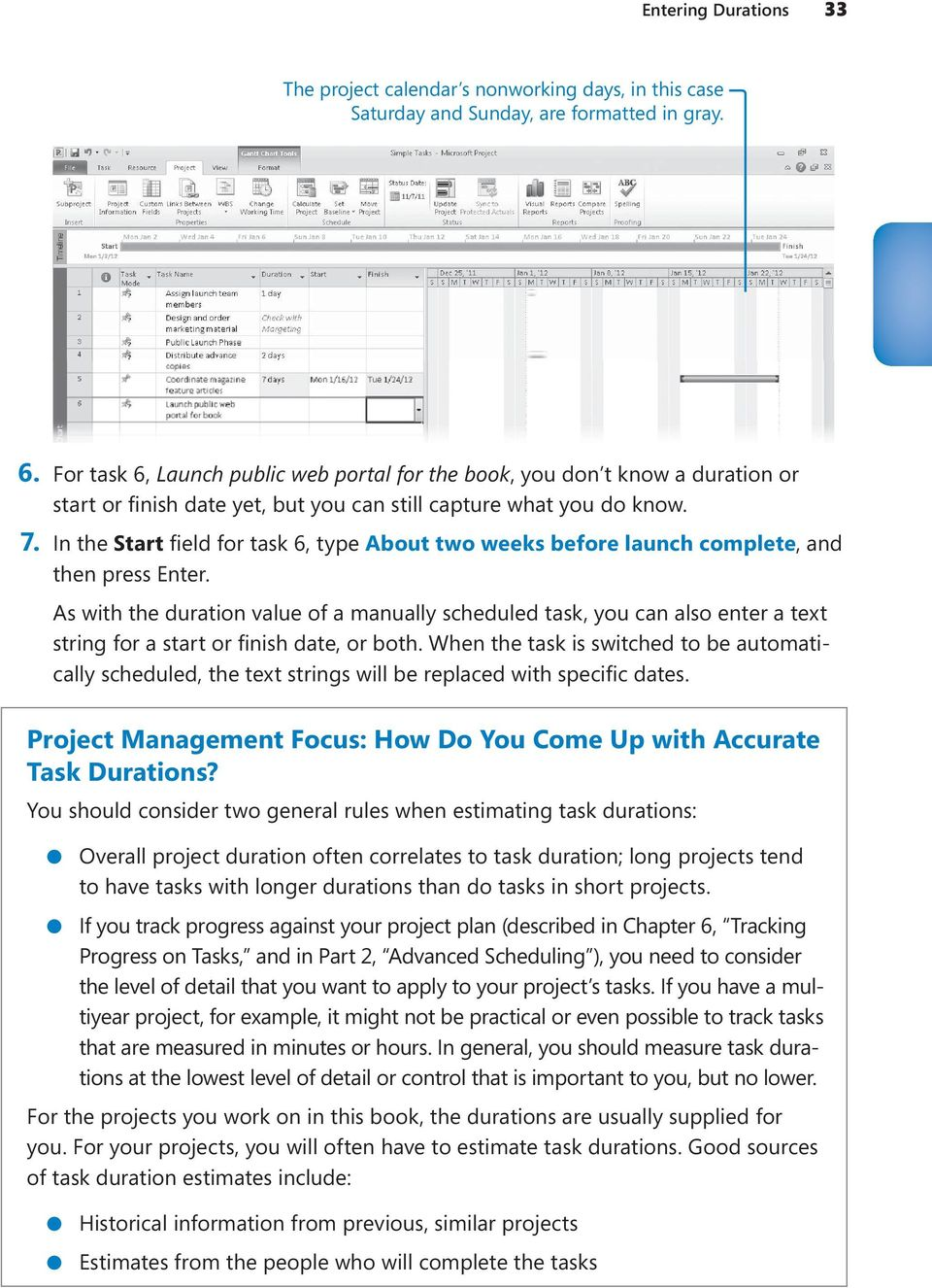 As with the duration value of a manually scheduled task, you can also enter a text - Project Management Focus: How Do You Come Up with Accurate Task Durations?