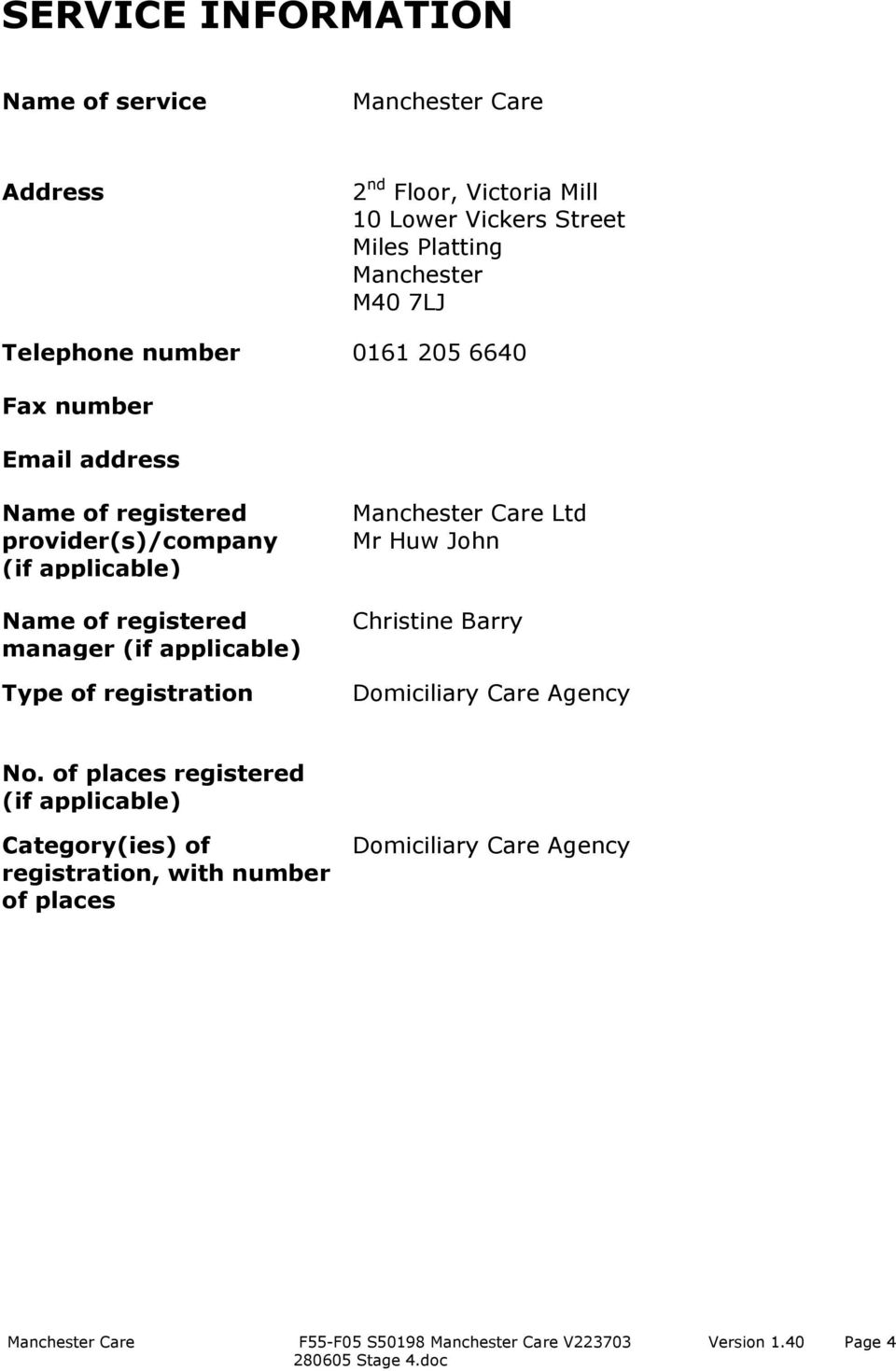 registered manager (if applicable) Type of registration Manchester Care Ltd Mr Huw John Christine Barry Domiciliary Care Agency No.