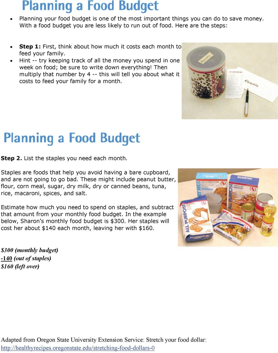 Hint -- try keeping track of all the money you spend in one week on food; be sure to write down everything!