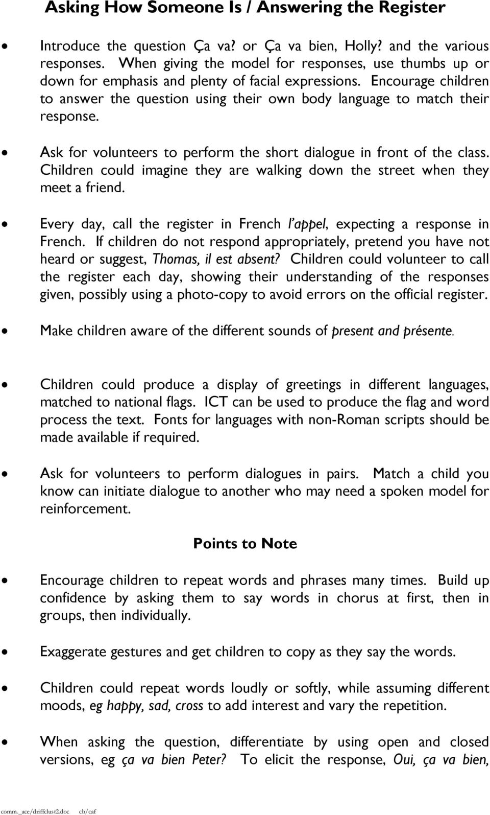 Driffield Cluster Primary Languages Key Stage 1 Franais And Espaol