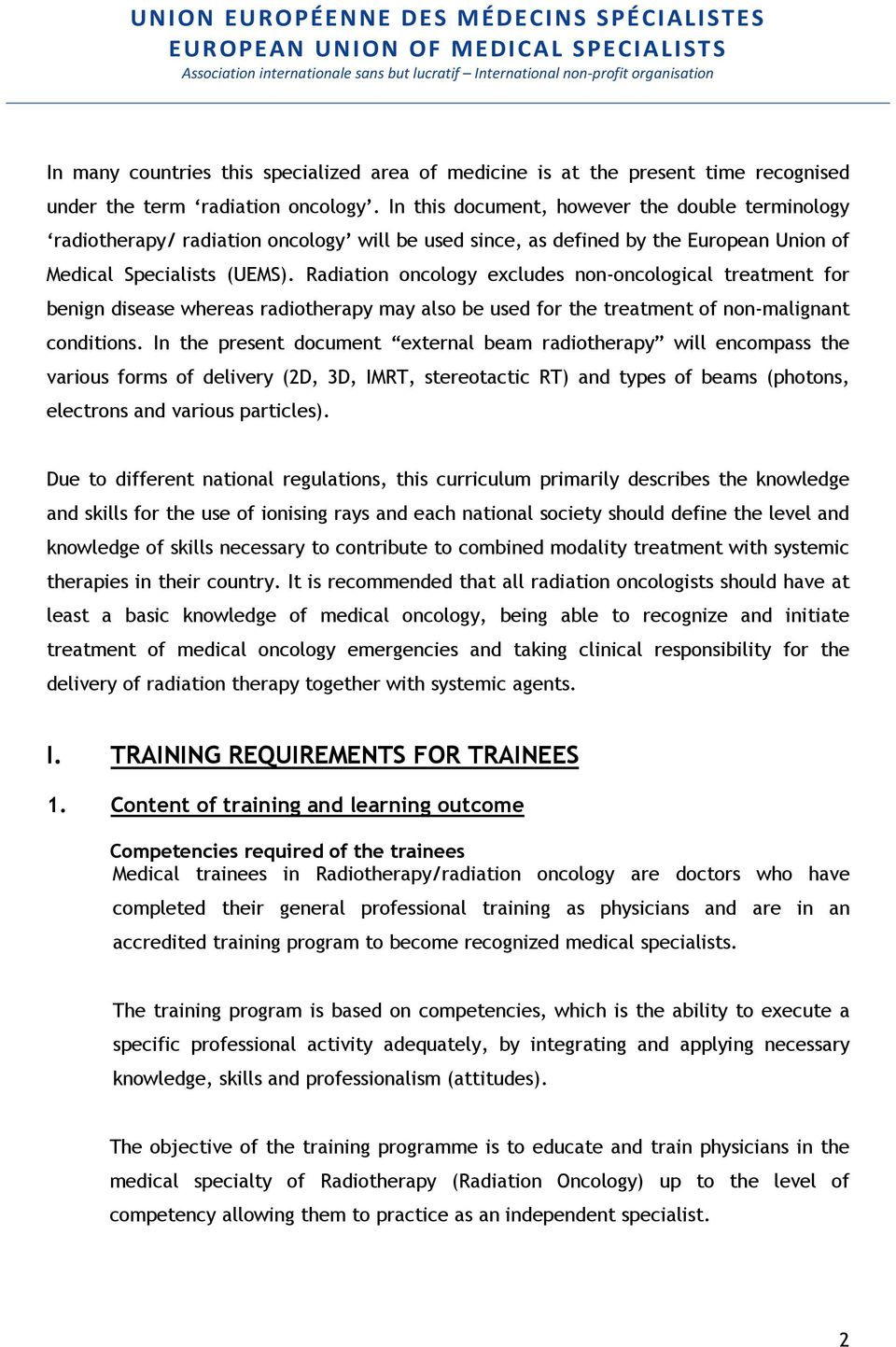 Training Requirements for the Specialty of Radiation