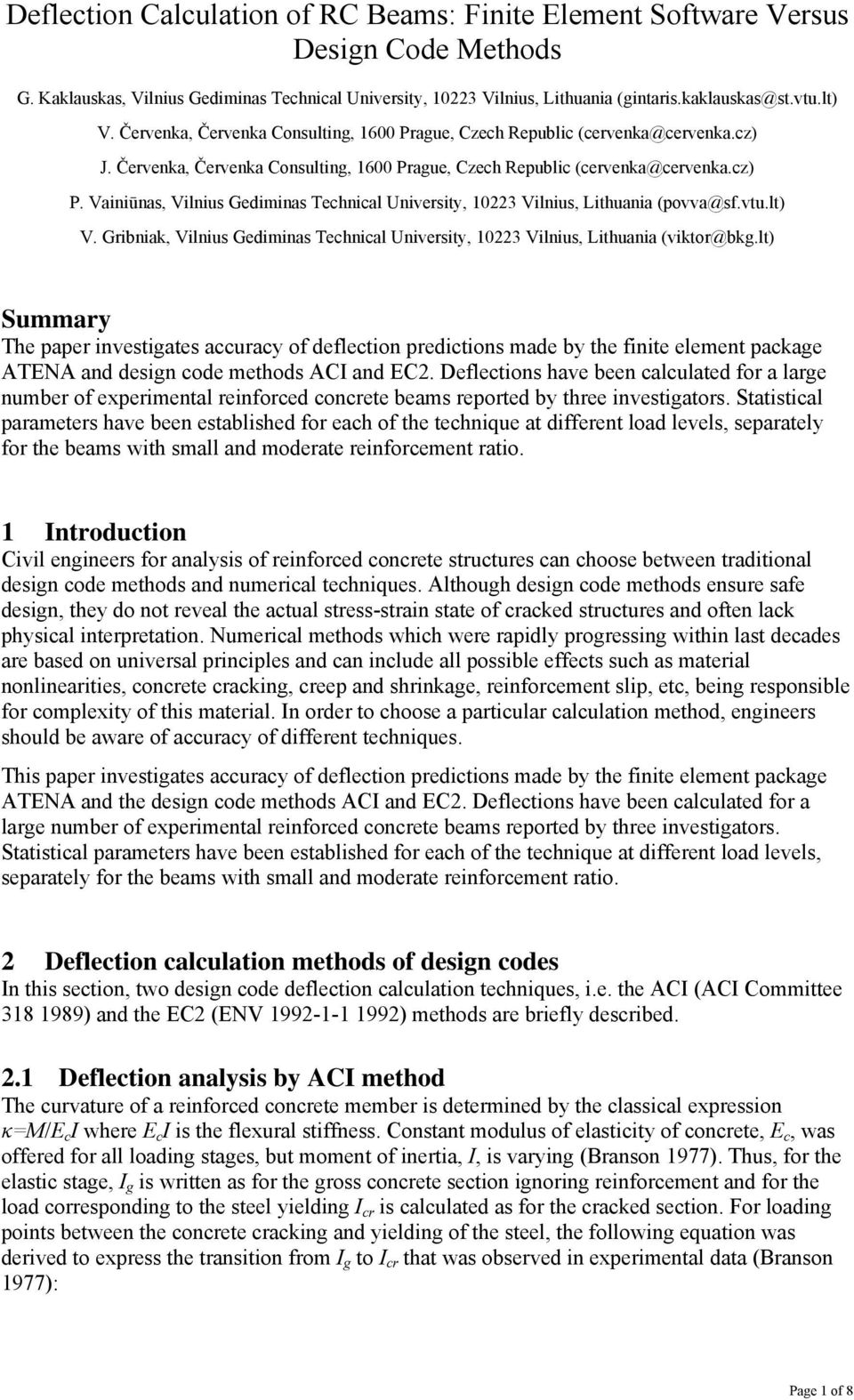 Deflection Calculation of RC Beams: Finite Element Software Versus
