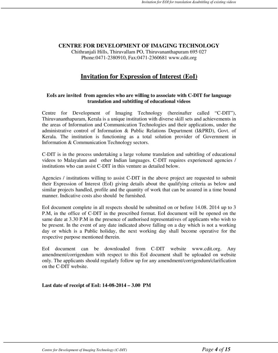 Invitation for Expression of Interest (EoI) for translation