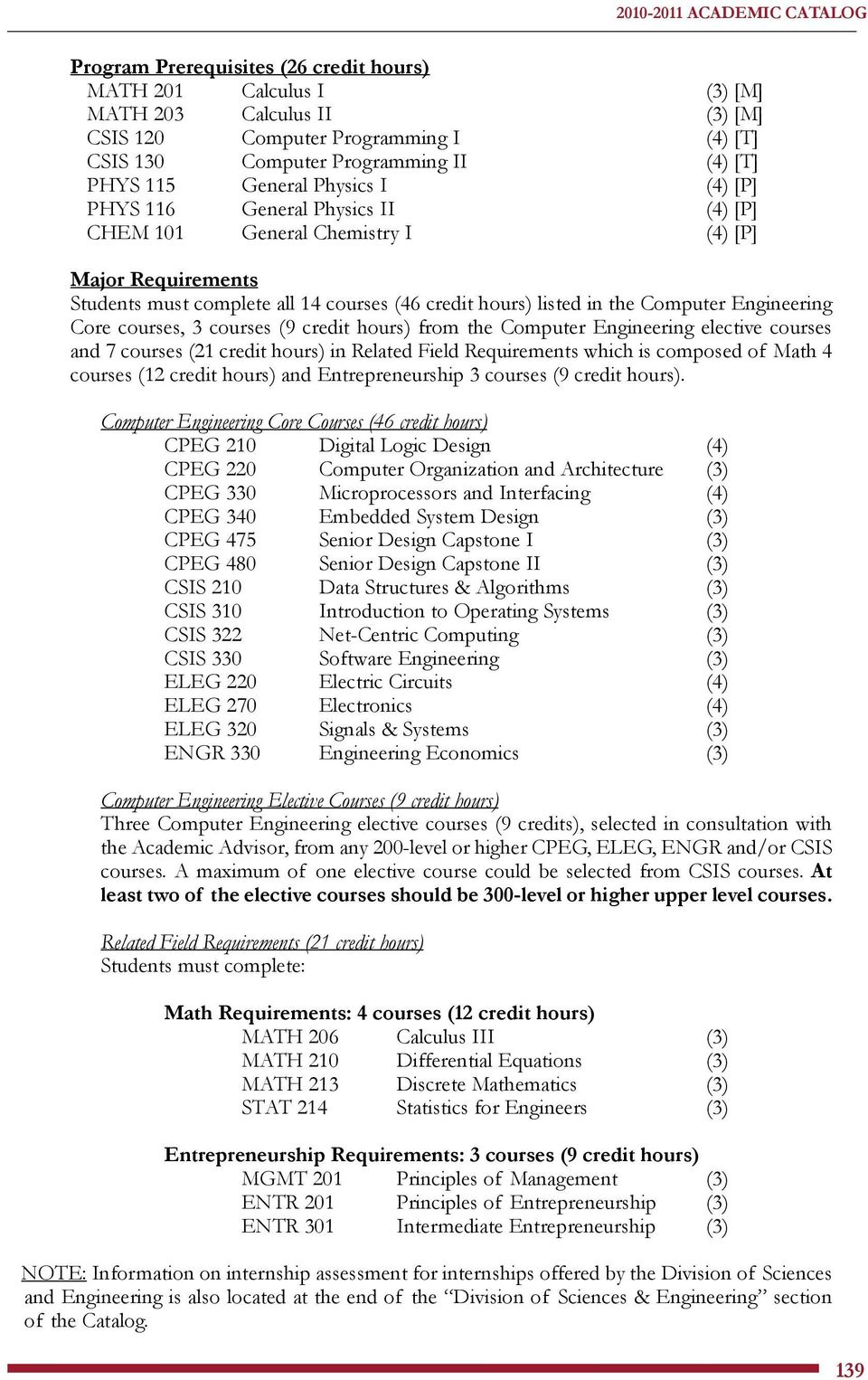 in the Computer Engineering Core courses, 3 courses (9 credit hours) from the Computer Engineering elective courses and 7 courses (21 credit hours) in Related Field Requirements which is composed of