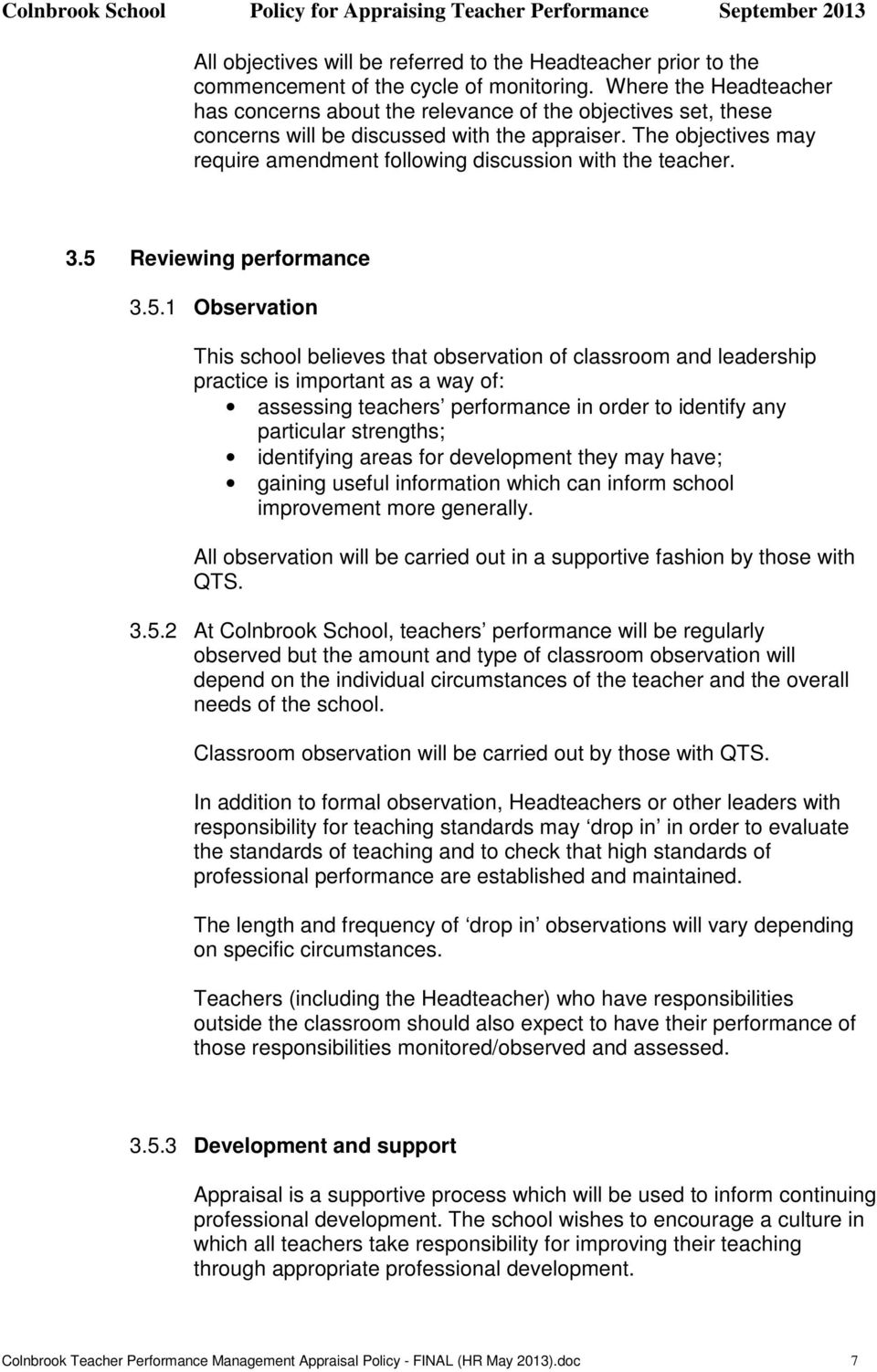 The objectives may require amendment following discussion with the teacher. 3.5