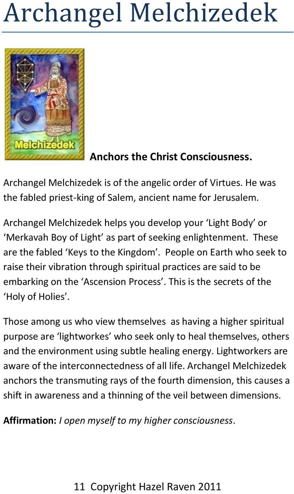 Angels, Archangels and Ascended Masters - PDF