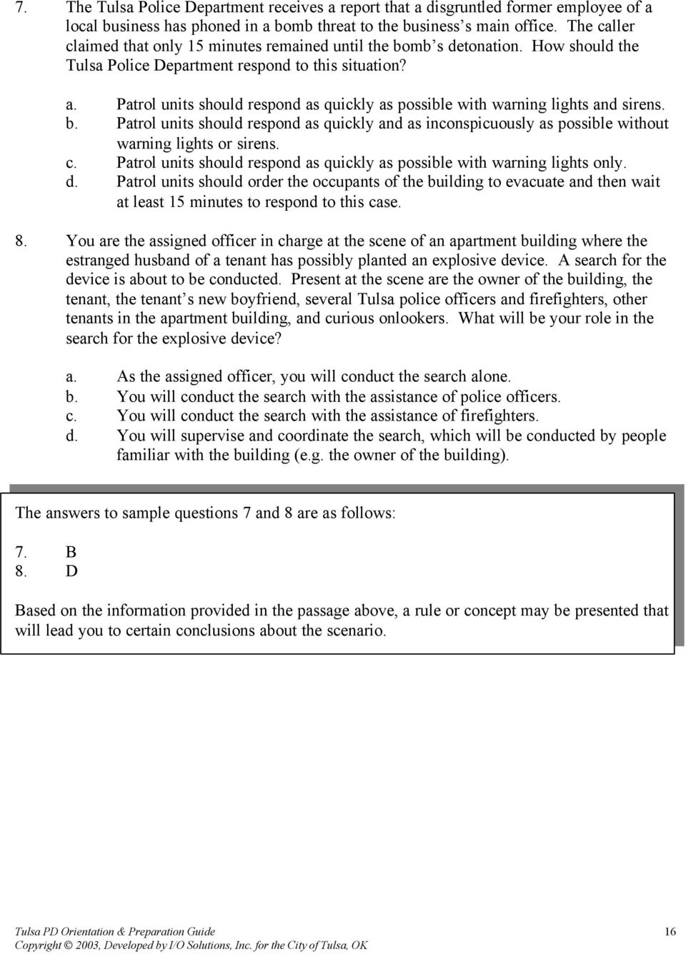 Written Examination Orientation and Preparation Guide City