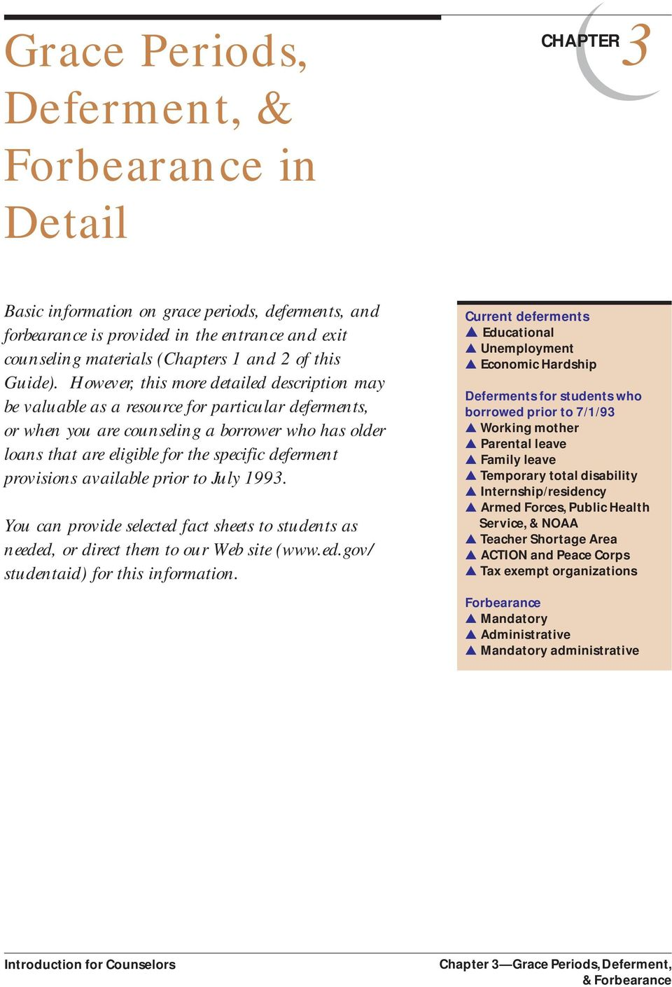 Grace Periods, Deferment, & Forbearance in Detail - PDF