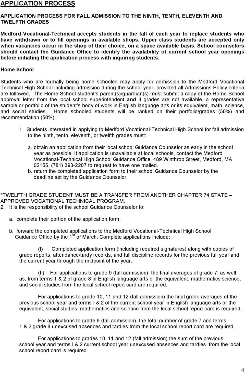 MEDFORD VOCATIONAL-TECHNICAL HIGH SCHOOL ADMISSION POLICY  February PDF
