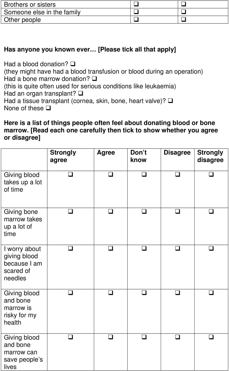 Had a tissue transplant (cornea, skin, bone, heart valve)? None of these Here is a list of things people often feel about donating blood or bone marrow.