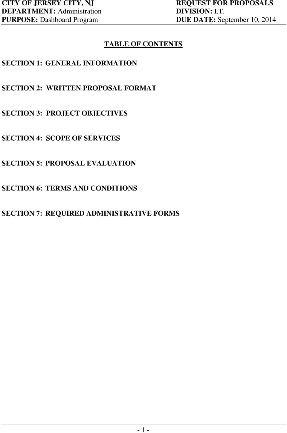 SECTION 2: WRITTEN PROPOSAL FORMAT SECTION 3: PROJECT OBJECTIVES SECTION 4: SCOPE OF SERVICES