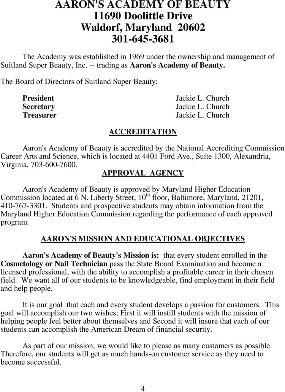 Church Jackie L ACCREDITATION Aarons Academy Of Beauty Is Accredited By The National Accrediting