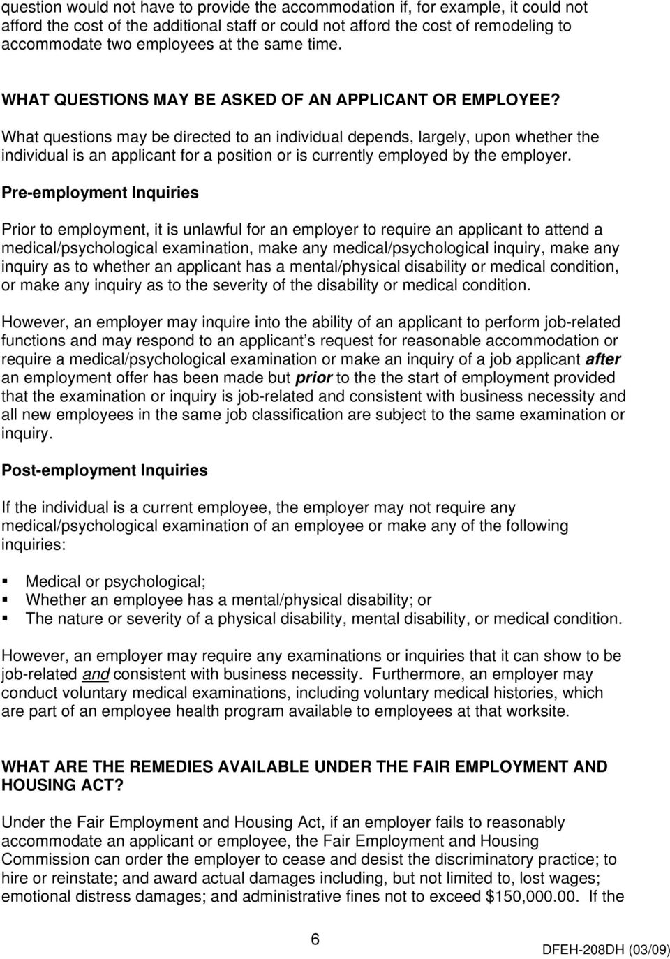 Disability Under the Fair Employment & Housing Act: What you
