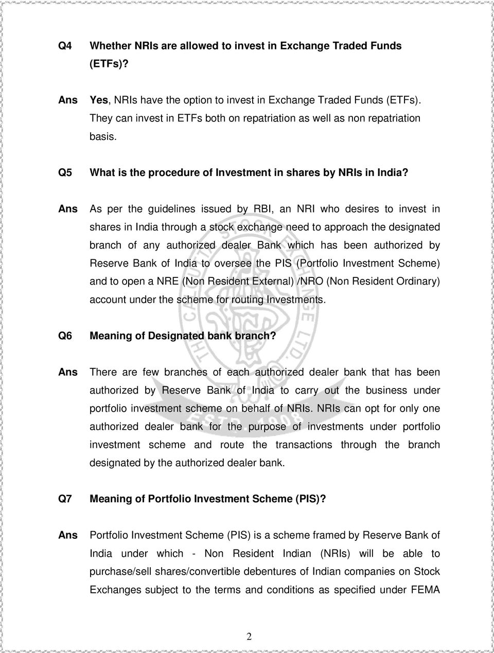 FAQs FOR NRI - TRADING ACCOUNT - PDF